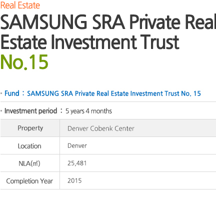 SAMSUNG SRA Private Real Estate Investment Trust No. 15 See alternate Posts